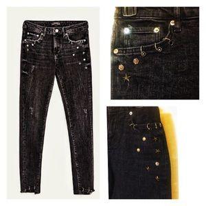 Zara pierced studded stretch black jeans